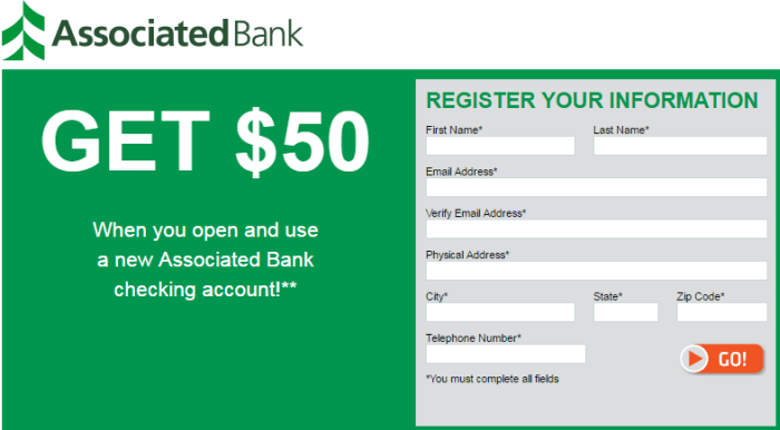 Associated Bank $50 Sign Up Bonus