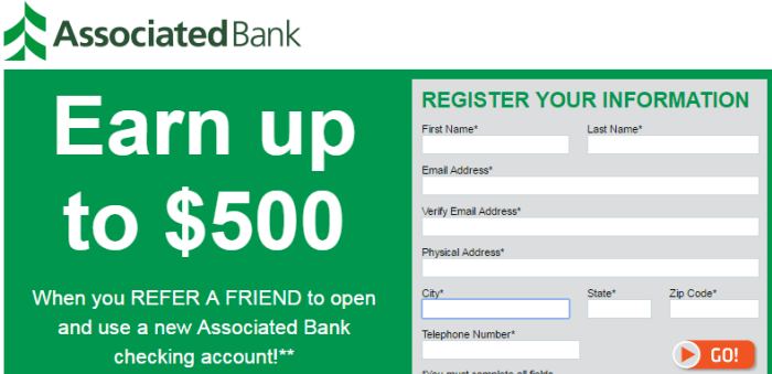Associated Bank $500 Referral Bonus1