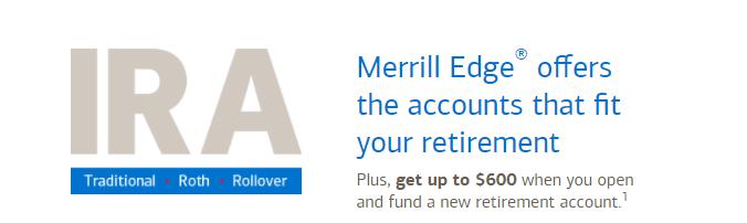 Merrill Edge IRA CMA $600 Bonus