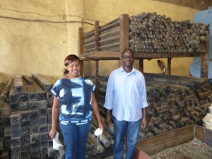 Lorna Rutto and Charles Kalama, founders of EcoPost, in front of their plastic lumber products.