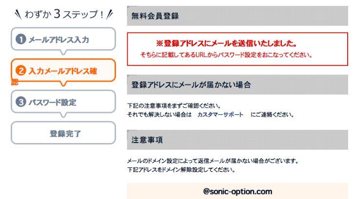 SONIC OPTION 登録画面