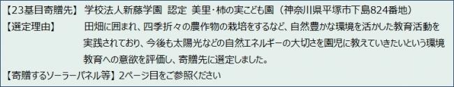 太陽光発電設備「そらべあ発電所」を神奈川県の認定こども園に寄贈