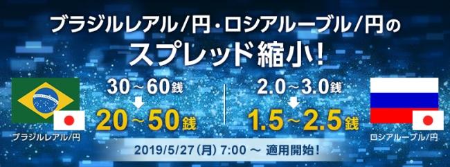 【SBI FXα】ブラジルレアル/円、ロシアルーブル/円のスプレッド縮小のお知らせ