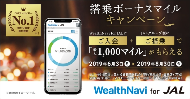 「WealthNavi for JAL」搭乗ボーナスマイルキャンペーン