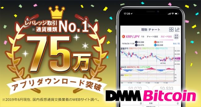 【DMM Bitcoin】取引アプリ75万ダウンロード突破!総額100万円のキャンペーン実施!
