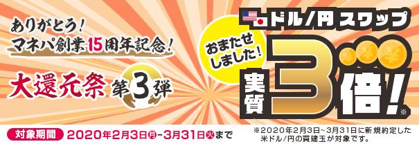 ありがとう!マネパ創業15周年 第3弾 米ドル/円スワップ実質3倍!