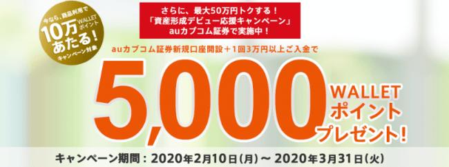 auカブコム証券の新規口座開設と条件達成で最大5,000ポイントもらえる、auじぶん銀行×auカブコム証券合同キャンペーン実施!