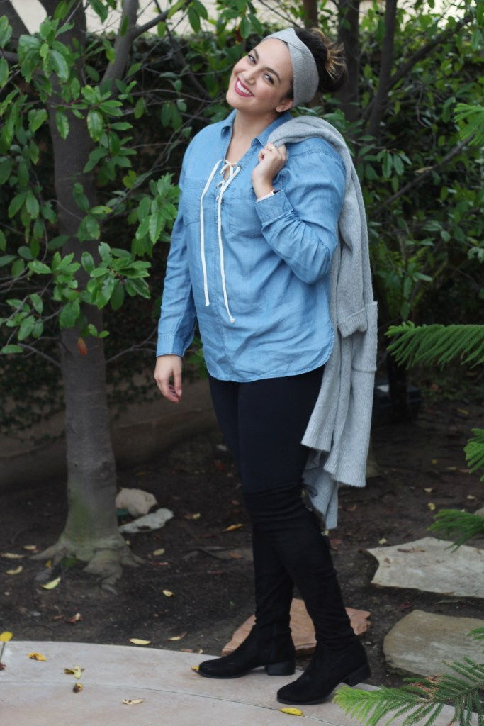 Spring Outfit 2017 Jean Chambray Lace Up
