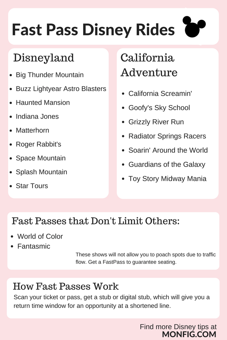 Fast Passes Disneyland California Adventure