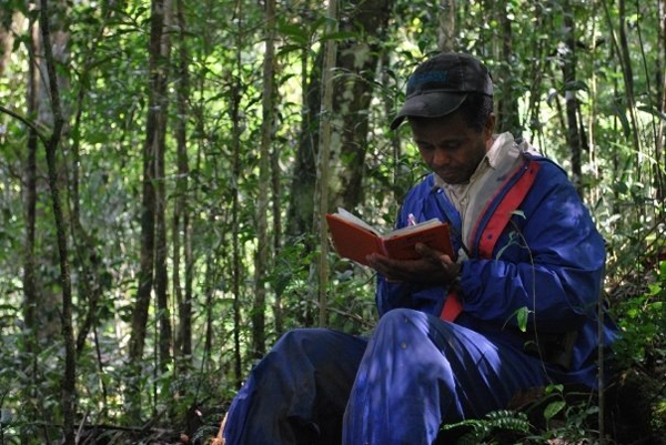 Data collection in the field. Photo by Andrea Baden.