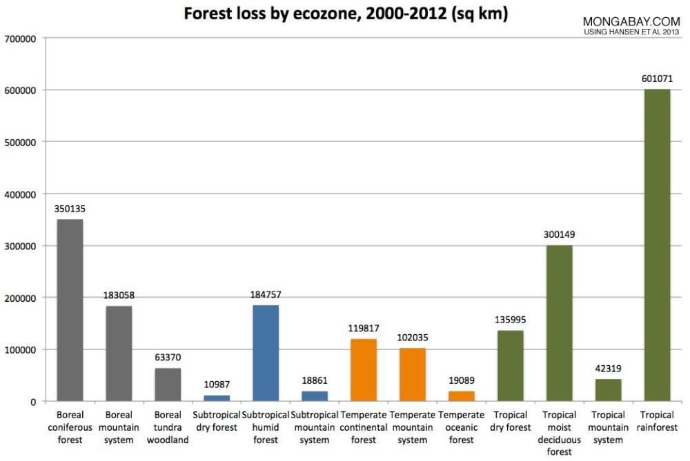 déforestation par écozone