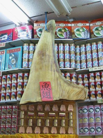 Aleta de tiburón en un mercado asiático