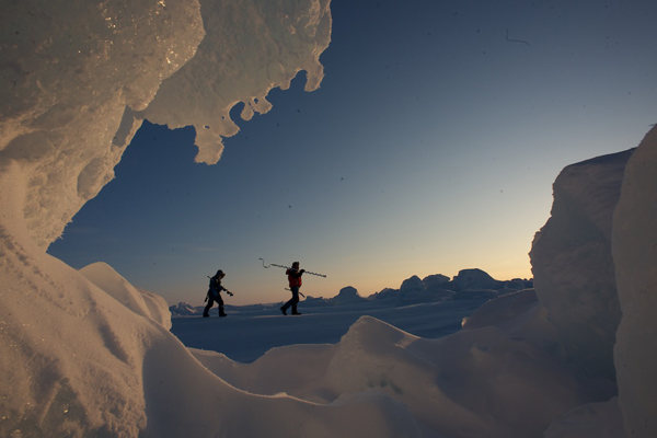 The researchers in the Arctic. Credit: Martin Hartley-Catlin Arctic Survey