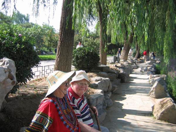 Elinor and Vincent Ostrom at Yuan Ming Yuan Gardens. Photo under the <a href=http://dlc.dlib.indiana.edu/dlc/>Digital Library of the Commons</a>.