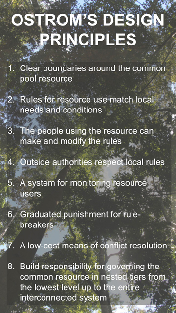 Ostrom found environmentally and socially sustainable 'common pool resources' had several of these principles in place.