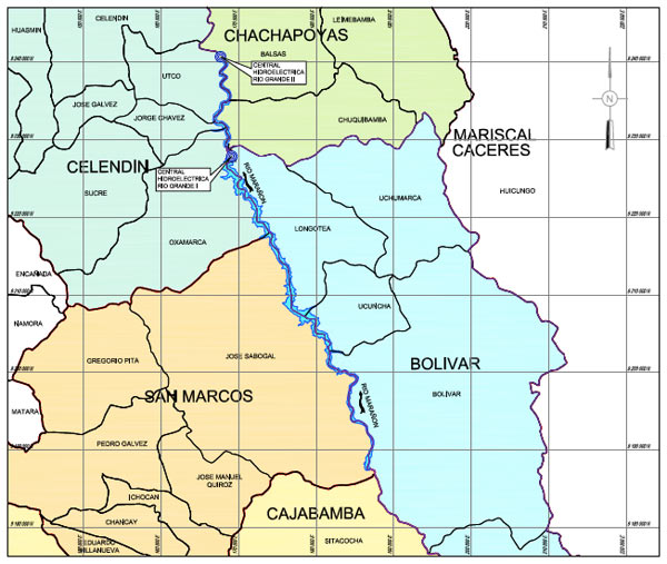 Map showing the proposed locations of the Rio Grande 1 and 2 dams and the area that would be flooded. Credit: Odebrecht/Amec (Peru) S.A.