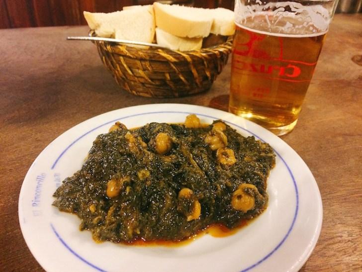 セビリア最古のバル「リンコンシージョ」のほうれん草とひよこ豆の煮込み