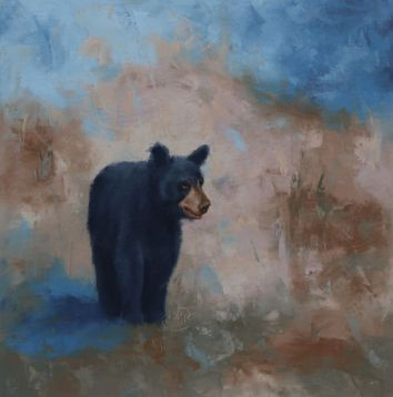 """Young black bear exploring her world. Original oil painting on canvas. 16""""x16"""". Available. You can also buy this image printed on home décor items such as canvas prints and even pillows and coasters. See the Shop tab for more details."""