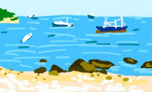 Digital painting phone painting of the beach with ships in the distance