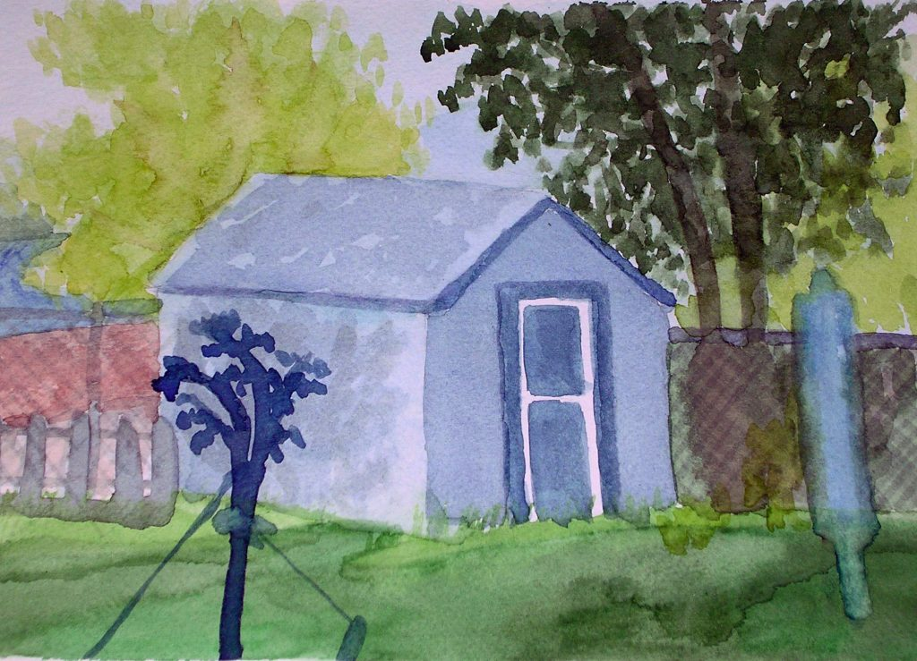 What is Watercolor Backyard Shed painting