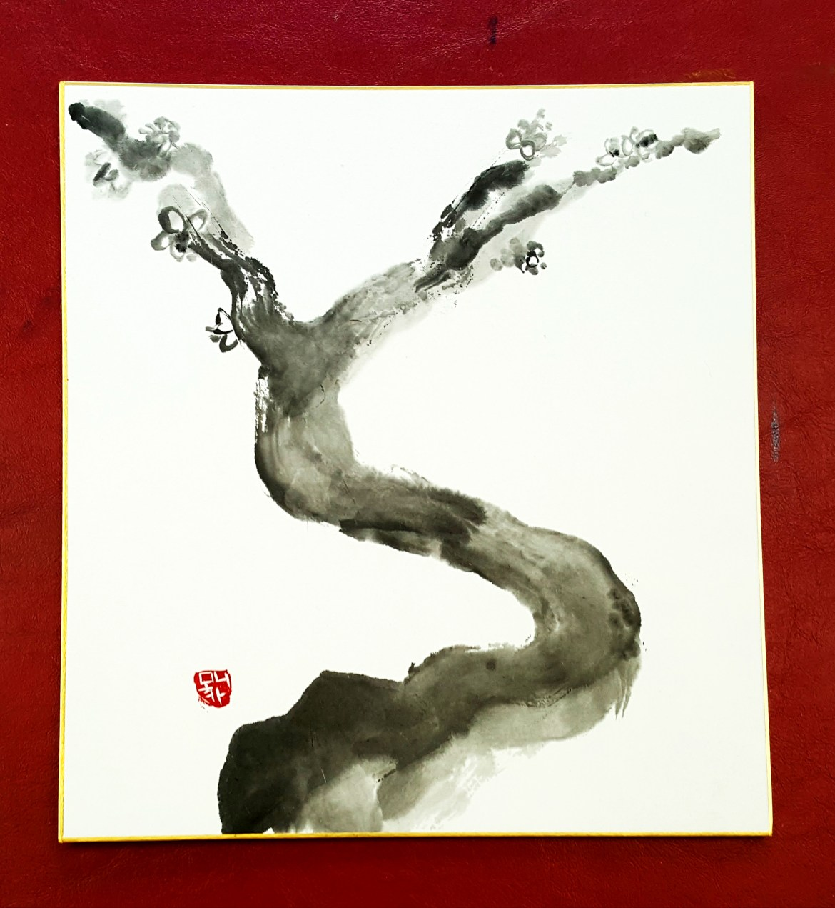 Sumi-e Japanese ink painting final plum painting with red background
