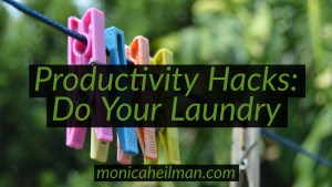 Productivity Hack Laundry clips on a line