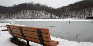 bench snow blogging in grad school