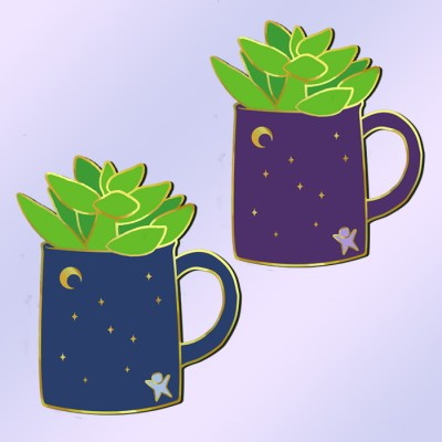 Monetizing your interests - 2 winter succulents in mugs designs, one blue mug and one purple mug with a gold star design on the outside