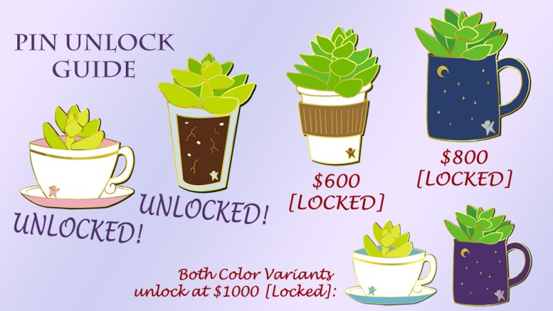 6 succulent pin designs on a purple gradient background. Designs feature succulents in different cups: teacup, glass, paper coffee cup, and mug