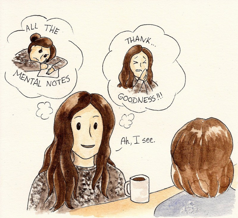 applying to grad school comics: illustration of two women talking at a table. Woman facing us has two thought bubbles showing her true emotions