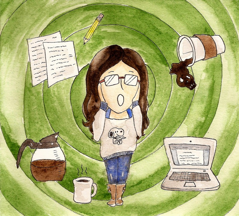 "applying to grad school comics: woman in the center of an illustration mimics pose from the painting ""the scream"". Background is a green swirl with objects like papers and coffee in it."