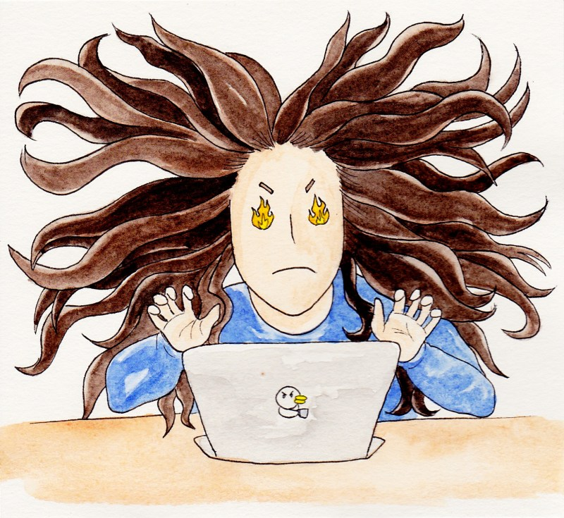 applying to grad school comics: woman sits in front of a laptop with fire for eyes and medusa-like hair flying in every direction