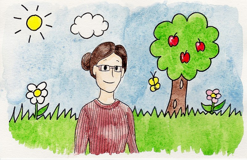 applying to grad school comics: woman in a red sweater, glasses, and dark brown hair pulled back in a bun walks through a background resembling a child's illustration with grass, flowers, and an apple tree