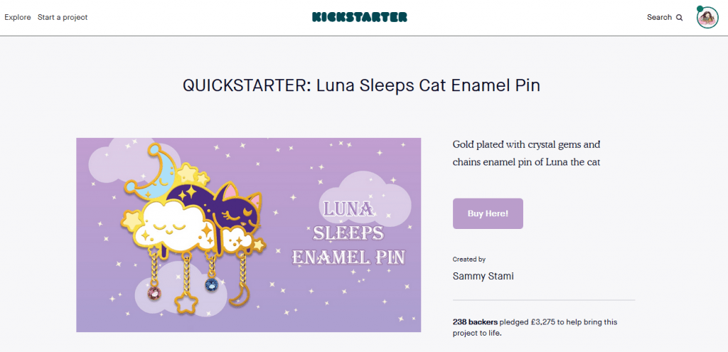 Screenshot of Stami's Sleeping Luna Pin Quickstarter