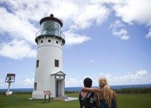 Maya and my mom, Ingrid, look at the Kilauea lighthouse in Kauai.