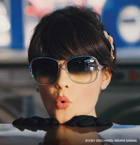 """the trademark lips stamped on the """"zooey"""" glasses"""