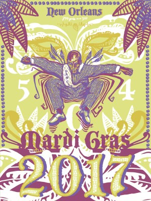 """Mardi Gras 2017"" ft. Dancing Man 504; Limited edition screen printed poster"