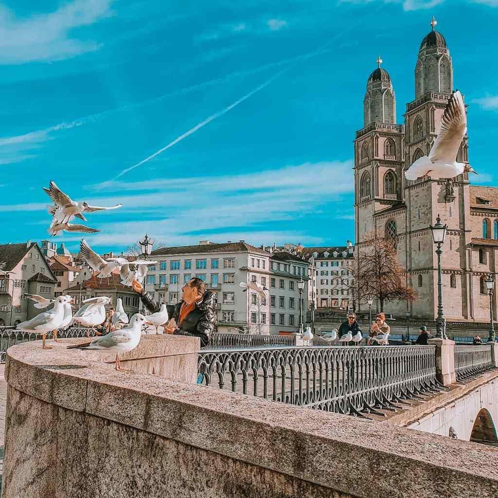 Zurich Old Town Münsterbrücke bridge