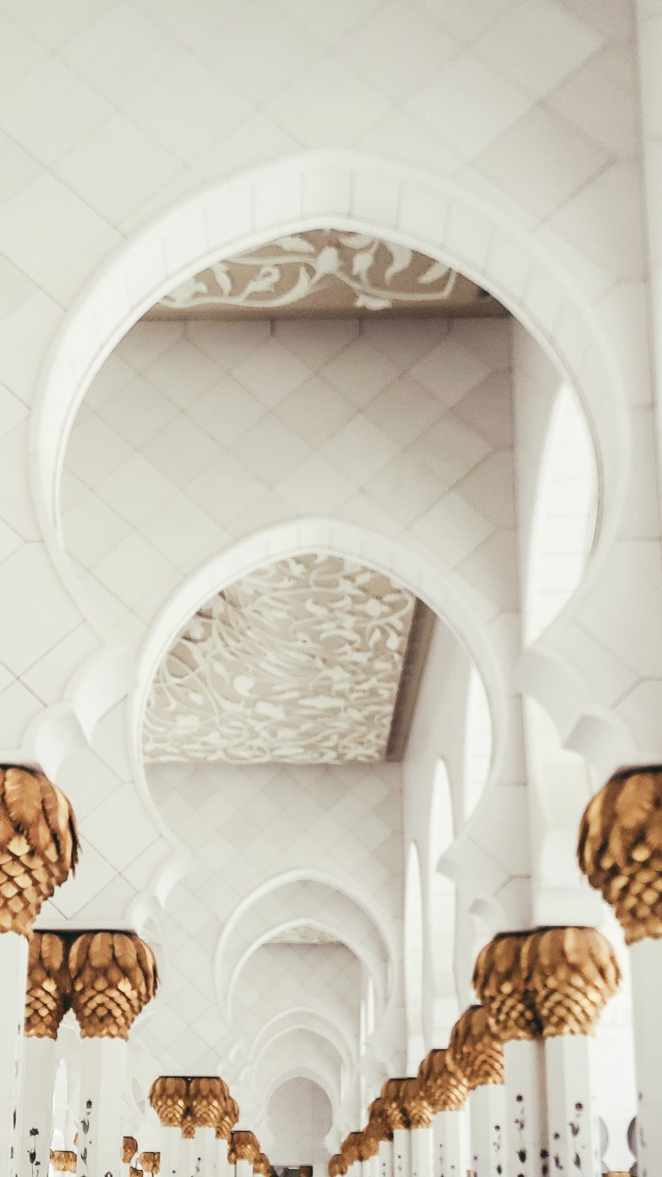 The Moorish archways of  Sheikh Zayed Grand Mosque