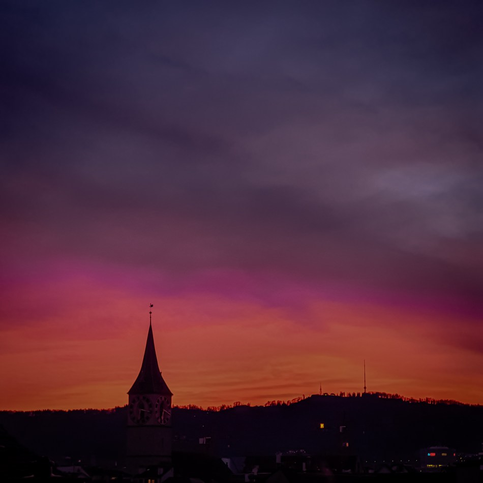 sunset in zurich city