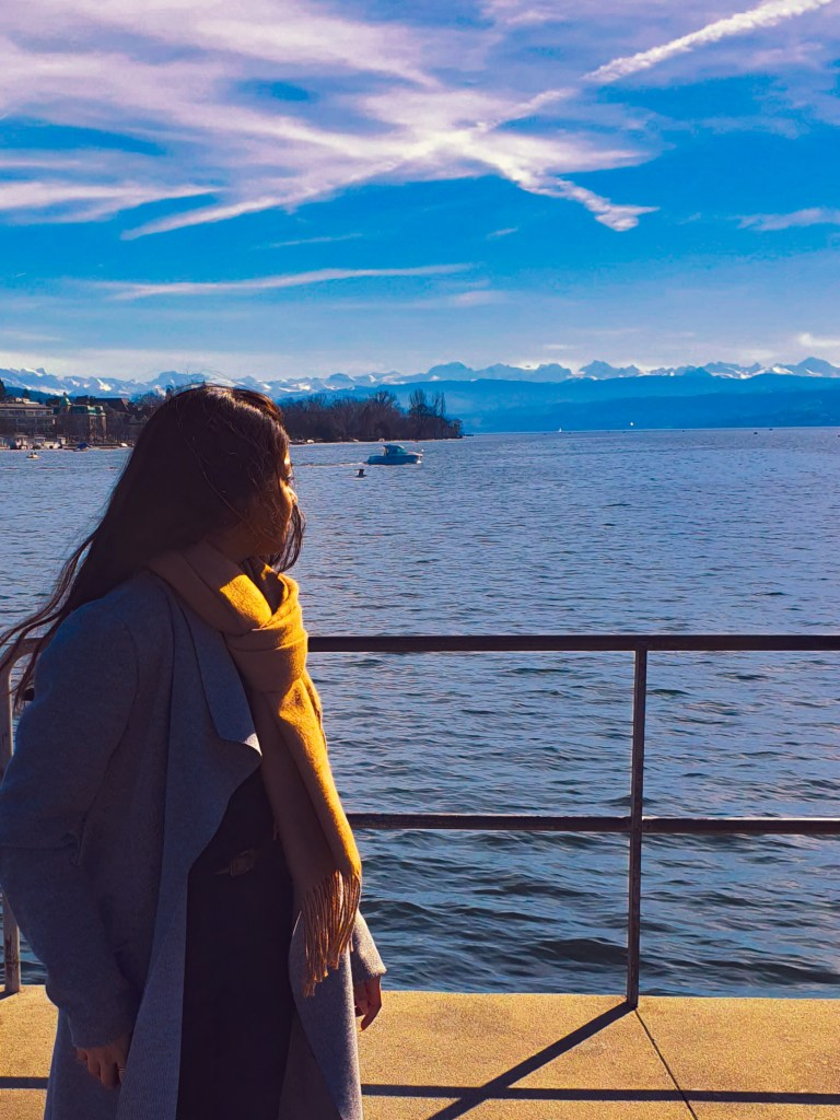 admiring the horizon on one sunny day in Zurich