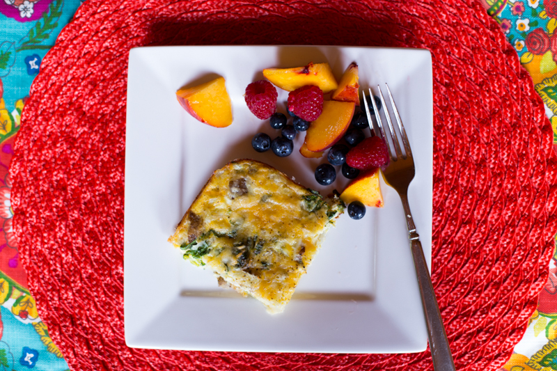 egg bake and fruit