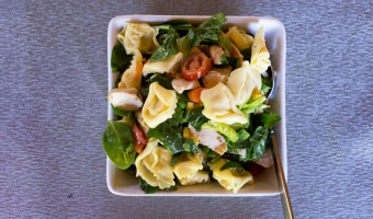 Tortellini Salad with Grilled Chicken and Veggies.