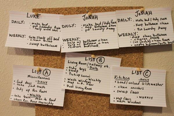 close-up, chore chart