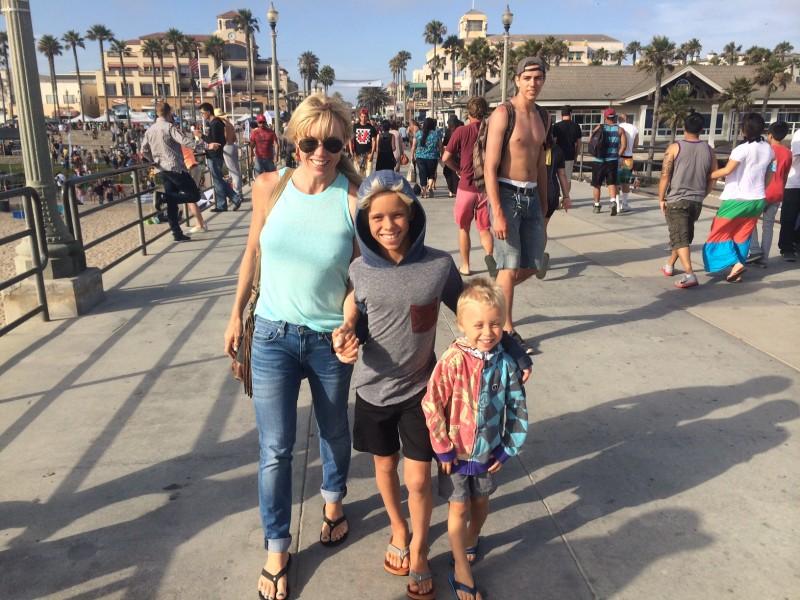 grommom and boys in Huntington beach
