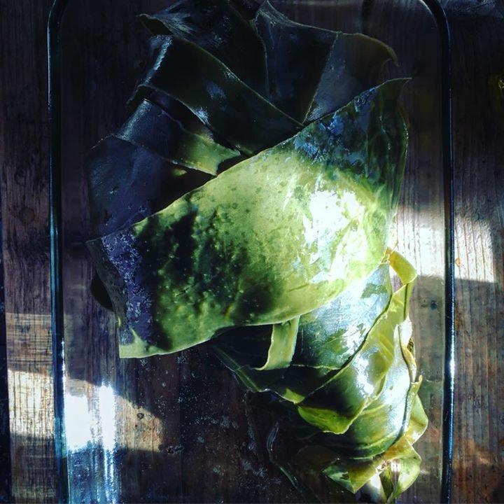 Oarweed kelp seaweed wrapped roast lamb