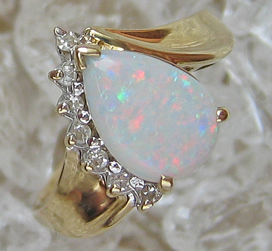 Opalschmuck Goldringe Damenring Gold Ring Diamant Ring mit