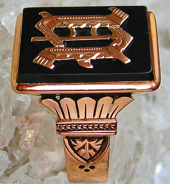 Goldringe Herrenring Wappen Adelsring 14k 585 Gold Ring