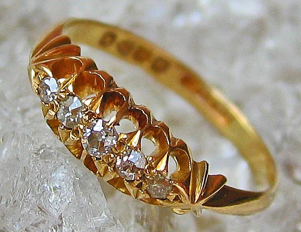 Goldringe Diamantringe 18kt 750 Gold Ring Jugendstilring