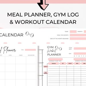 Meal Plan, Gym Log and Workout Calendar Bundle (3)